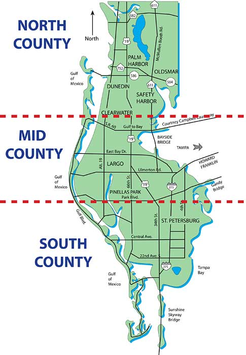 Pinellas County Map with Cities